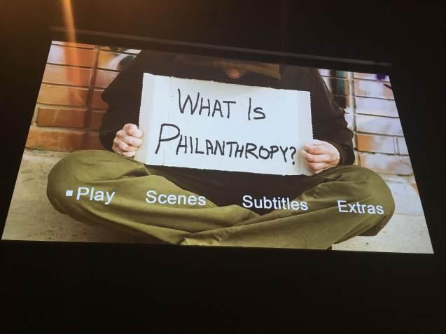 WHAT IS PHILANTHROPY MAIN MENU SCREEN